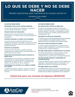 AmCap Do's & Don't's Flyer - Spanish (FREE DOWNLOAD)