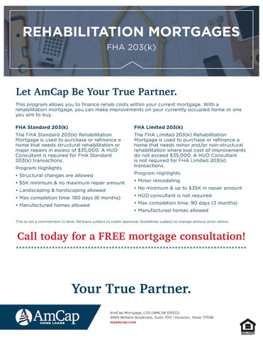 AmCap FHA 203(k) Rehabilitation Mortgages Flyer (FREE DOWNLOAD)