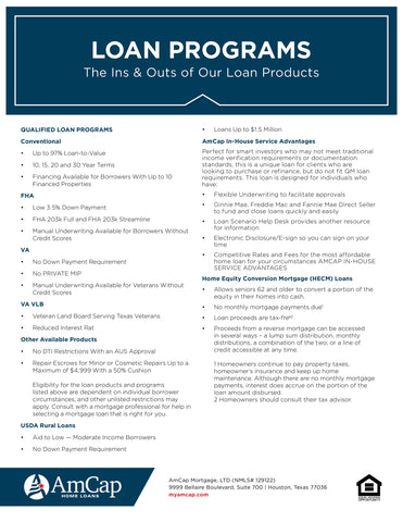 AmCap Loan Programs - Expanded Flyer (FREE DOWNLOAD)