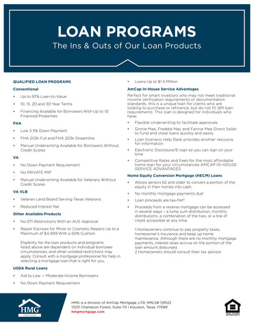HMG Loan Programs - Expanded Flyer (FREE DOWNLOAD)