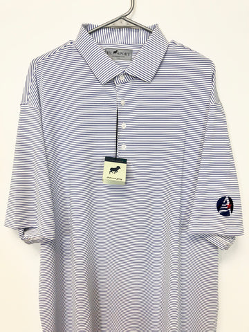 Men's White w/ Blue Stripe Golf Shirt