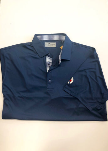 Men's Solid Blue w/ Design on Collar and Buttons Shirt (HL Sport)