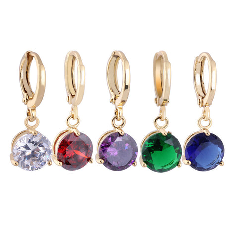 Zircon Crystal Drop Earrings Gold Plated