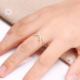 Fashionable Adjustable Silver Ring with Deer Horns