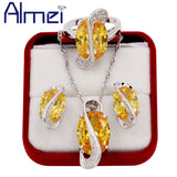 Silver Big Yellow Rhinestone Jewerly Sets with Zirconia Diamond