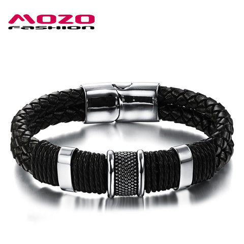 Men Energy Bracelet With Black Leather, Stainless Steel And Magnetic Claps