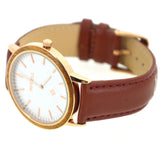 Wood Quartz Watch With Leather Strap