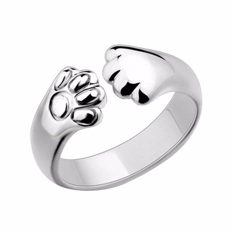 Silver Plated Cat Paw Claw Ring