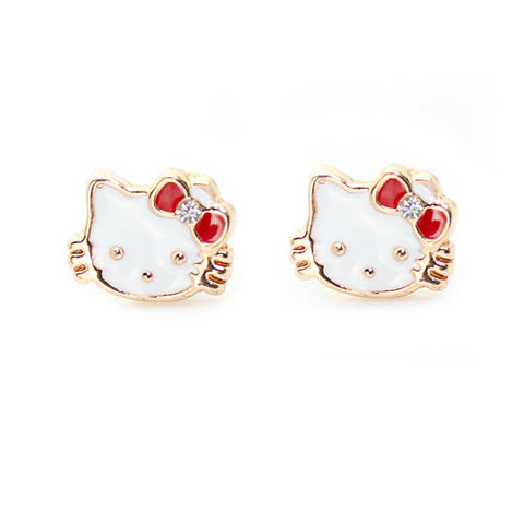 Cute Mix Color Hello Kitty Stud Earrings For Children