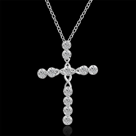 Silver Cross Necklace With Crystal CZ Stone