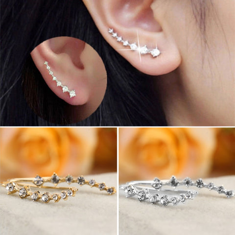 Fashion Rhinestone Crystal Earrings Gold Plated