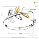Adjustable Silver Ring with Silver and Gold Leaves