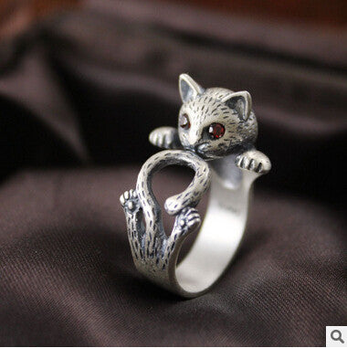 Retro Style Cute Cat Silver Ring