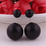 New Brand Double Side Matte Pearl Stud Earrings