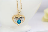 Gold Plated Heart Blue Crystal Jewerly Set