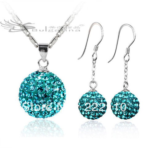 Blue Zircon Silver Jewelry Set