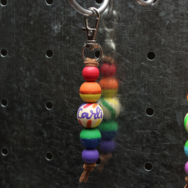 Traditional Rainbow Hand Painted Keychain - Backpack Clip