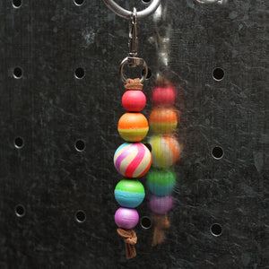 Neon Rainbow Hand Painted Keychain - Backpack Clip