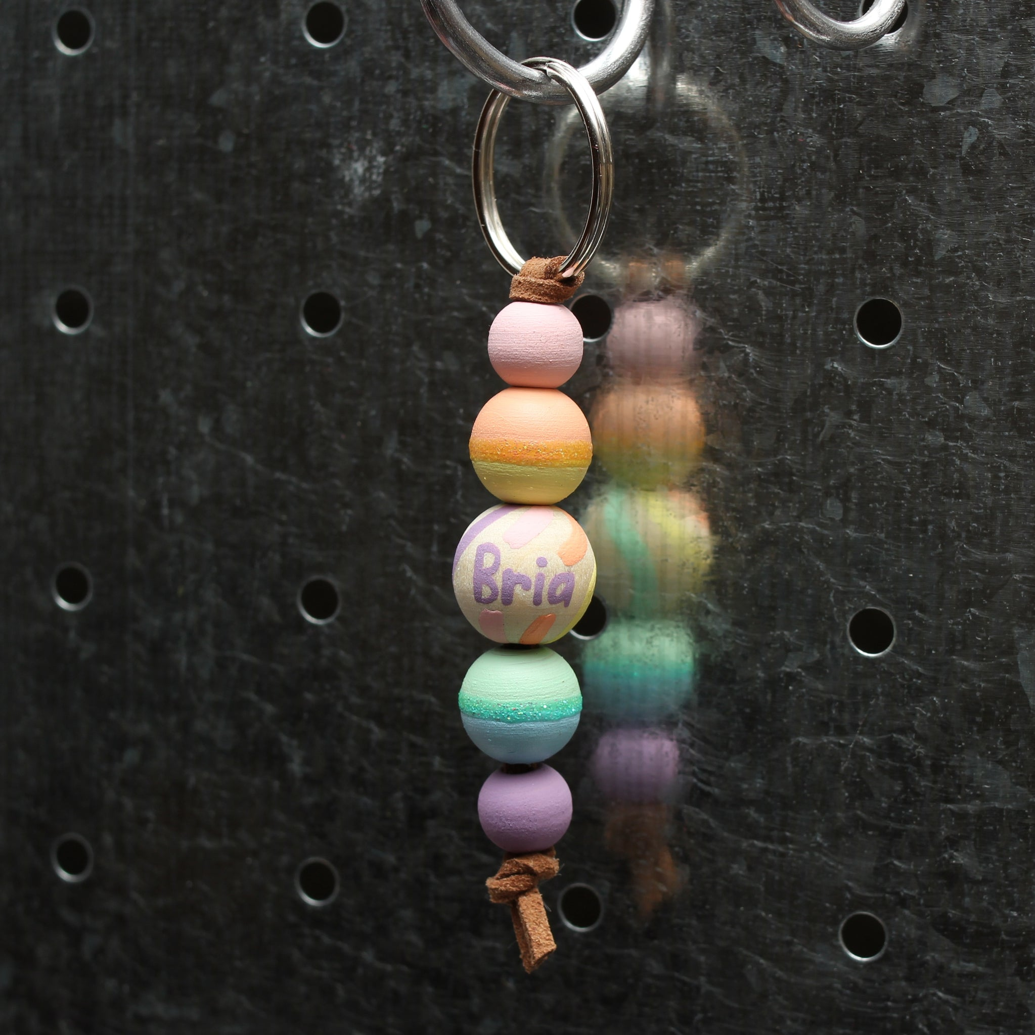 Pastel Rainbow Hand Painted Keychain - Backpack Clip