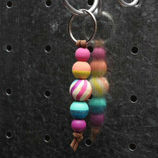 Bright Rainbow Hand Painted Keychain - Backpack Clip