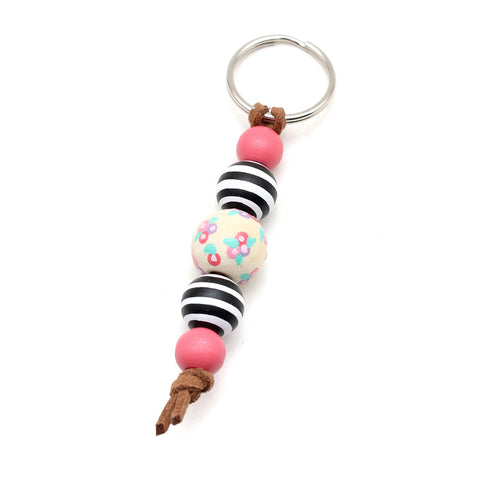 Floral and Stripes Hand Painted Keychain - Backpack Clip