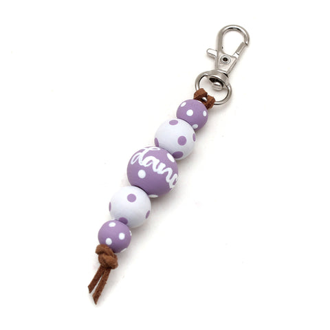 Purple Polka Dot Hand Painted Keychain - Backpack Clip