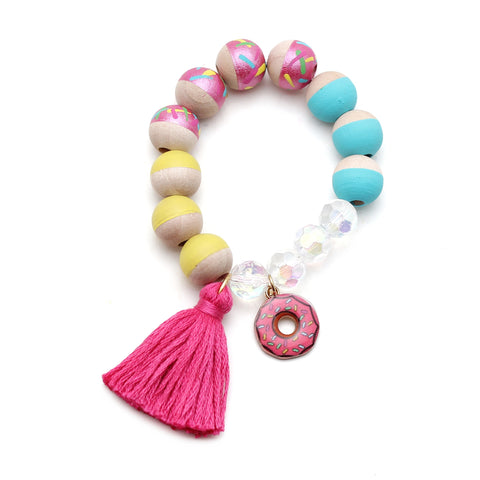 Donut Charm and Tassel Hand Painted Bracelet