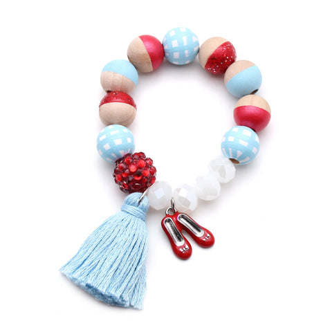 Dorothy Inspired Charm and Tassel Hand Painted Bracelet