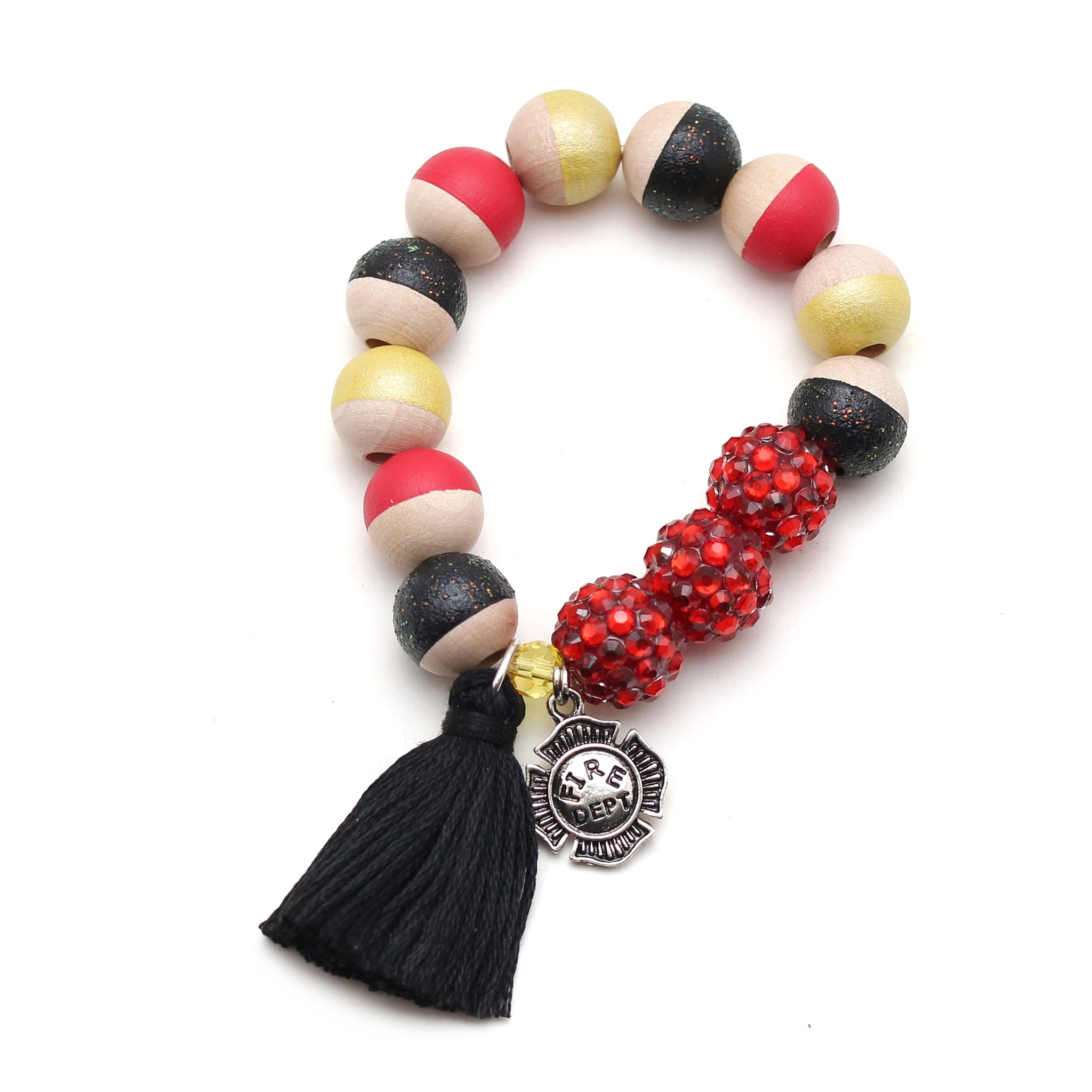 Fire Department Charm and Tassel Hand Painted Bracelet
