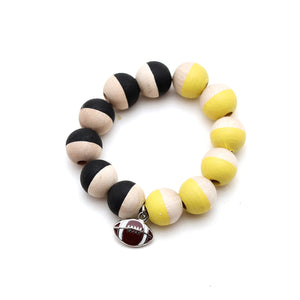 Boy Football Charm and Hand Painted Bracelet