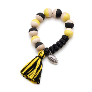 Football Charm and Tassel Hand Painted Bracelet