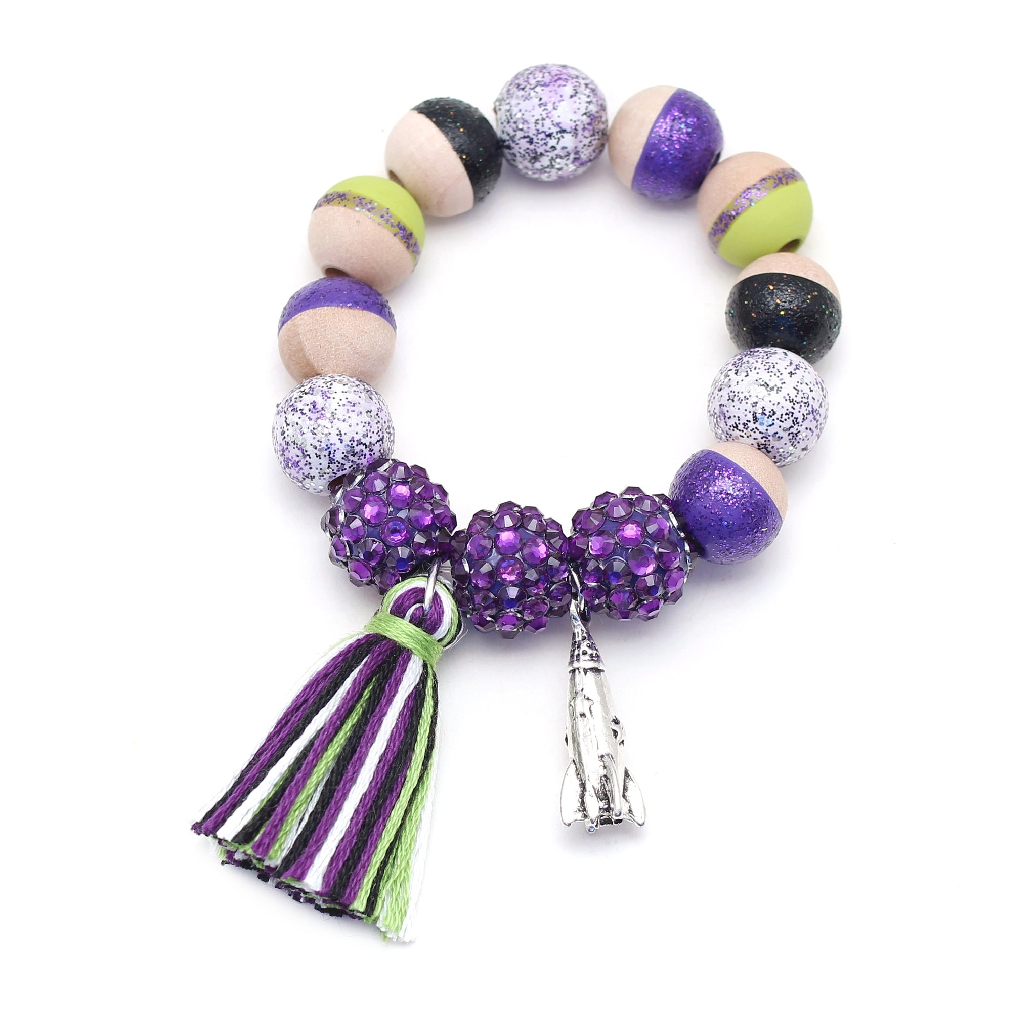 Buzz Lightyear Inspired Charm and Tassel Hand Painted Bracelet