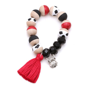 Cow Charm and Tassel Hand Painted Bracelet