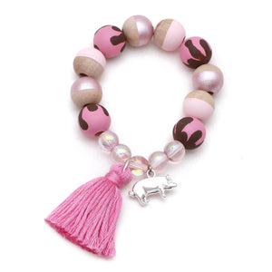 Pig Charm and Tassel Hand Painted Bracelet