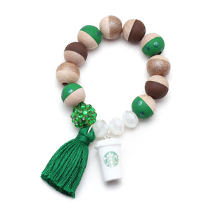 Coffee Cup Charm and Tassel Hand Painted Bracelet - Starbucks