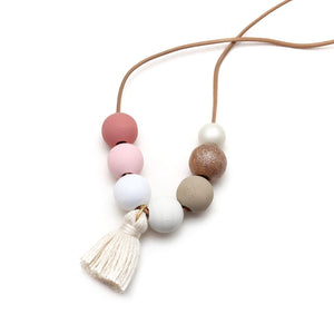 Blush and Neutral Hand Painted Tassel Necklace