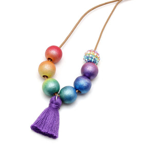 Ombre Rainbow Hand Painted Tassel Necklace