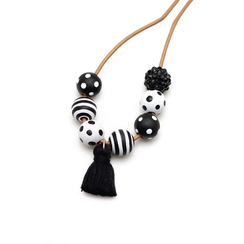 Monochrome Hand Painted Tassel Necklace