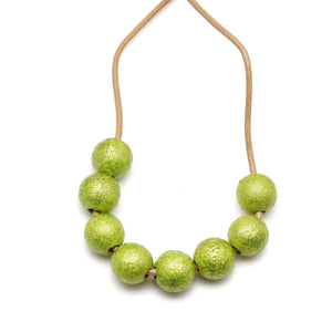 Chartreuse Glitter Hand Painted Necklace