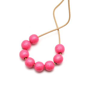 Neon Pink Glitter Hand Painted Necklace