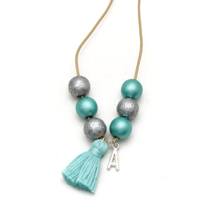 Initial Charm and Tassel Hand Painted Necklace - Rainbow