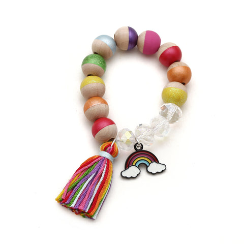 Rainbow Charm and Tassel Hand Painted Bracelet - Rainbow