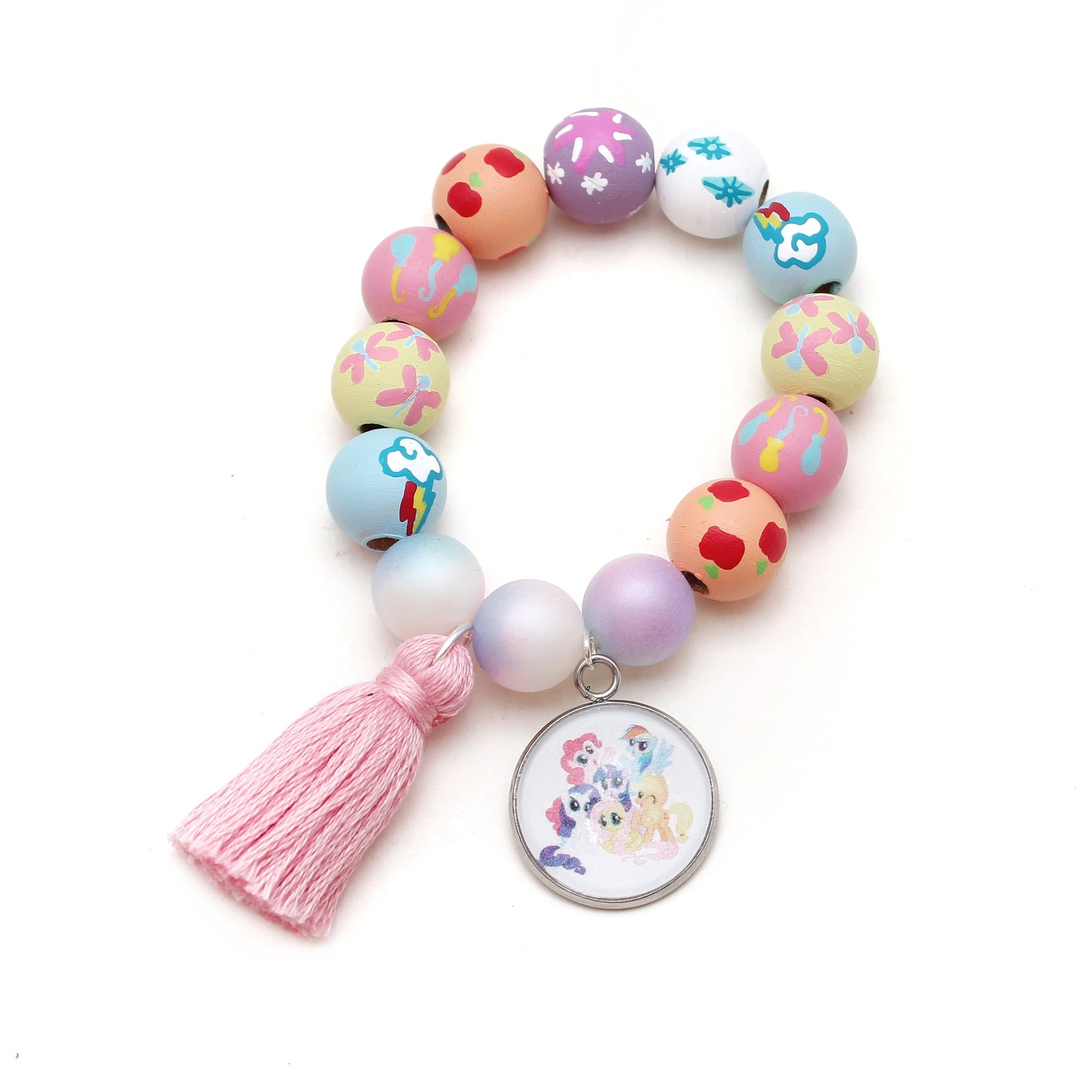 My Little Pony Inspired Charm and Tassel Hand Painted Bracelet