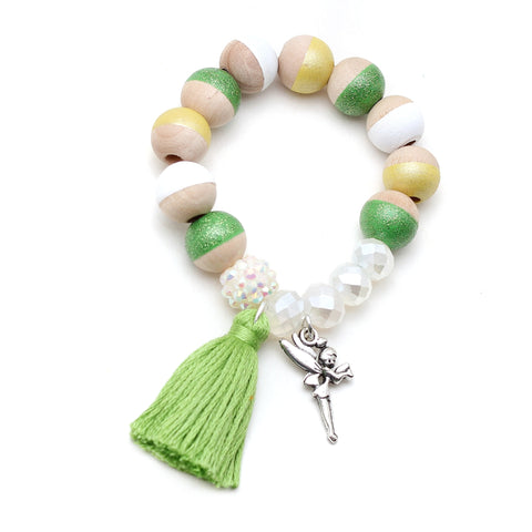 Tinkerbell Inspired Charm and Tassel Hand Painted Bracelet