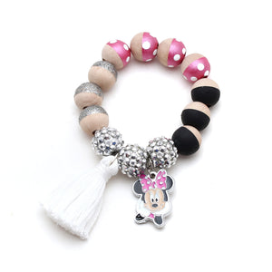 Pink Minnie Inspired Charm and Tassel Hand Painted Bracelet