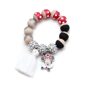 Red Minnie Inspired Charm and Tassel Hand Painted Bracelet