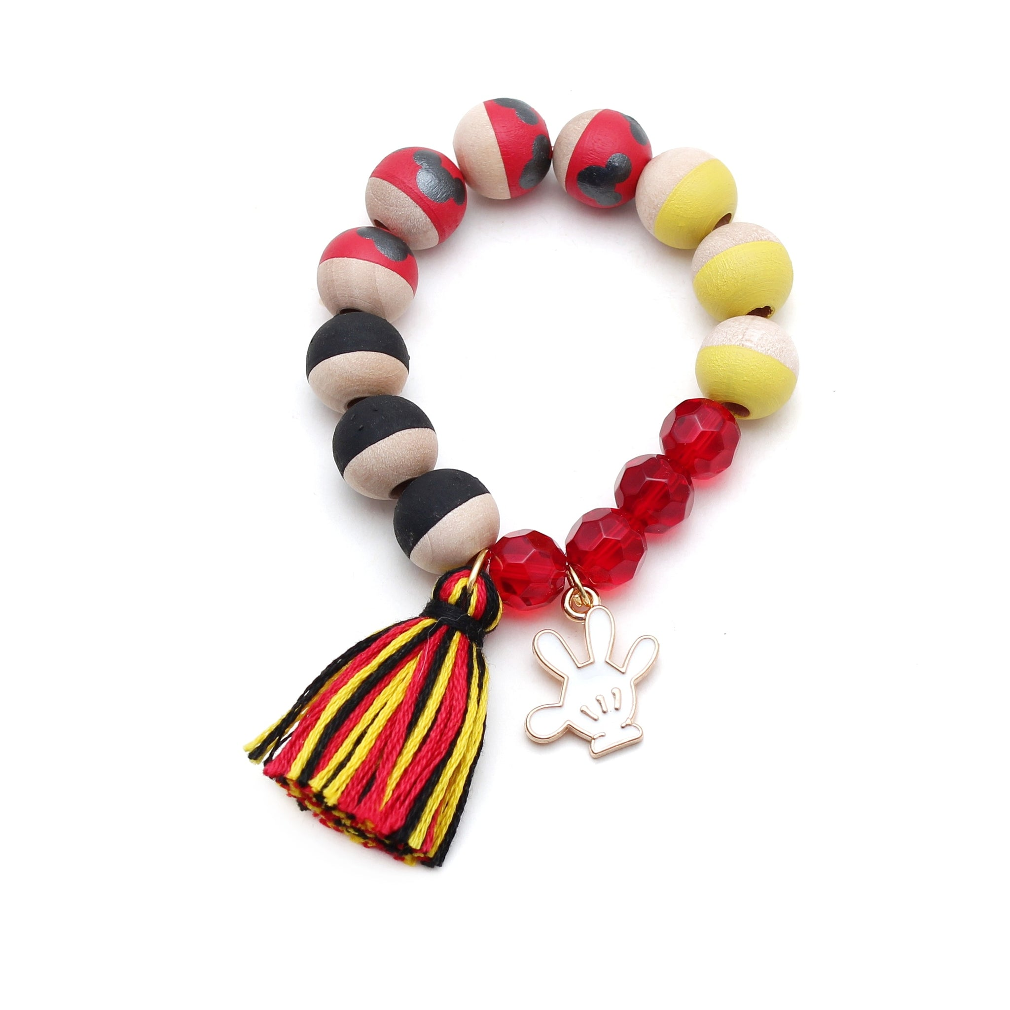 Mickey Inspired Charm and Tassel Hand Painted Bracelet