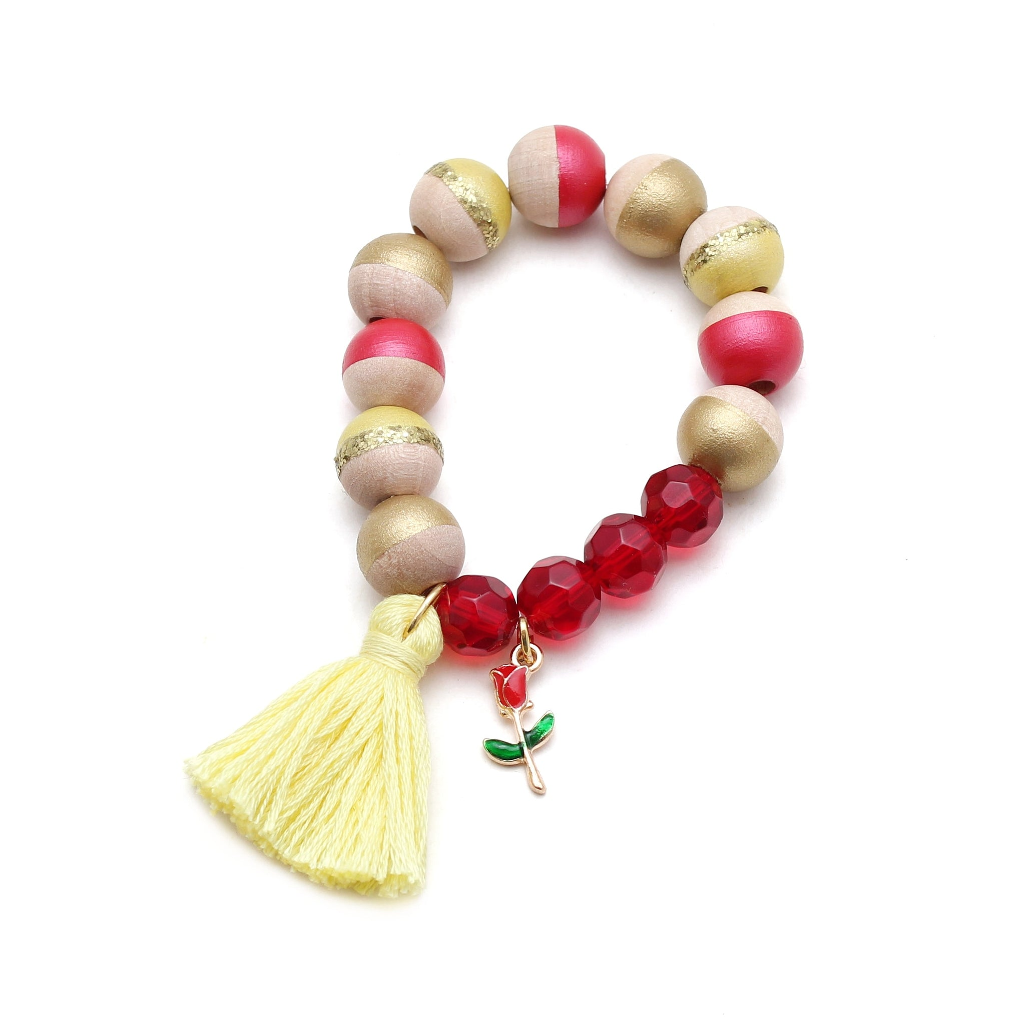 Belle Inspired Charm and Tassel Hand Painted Bracelet