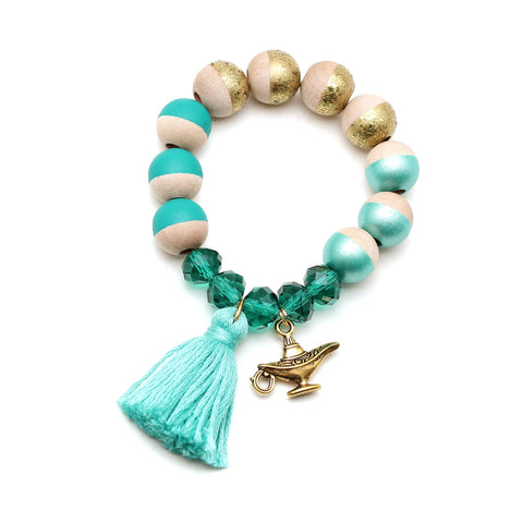Jasmine Inspired Charm and Tassel Hand Painted Bracelet