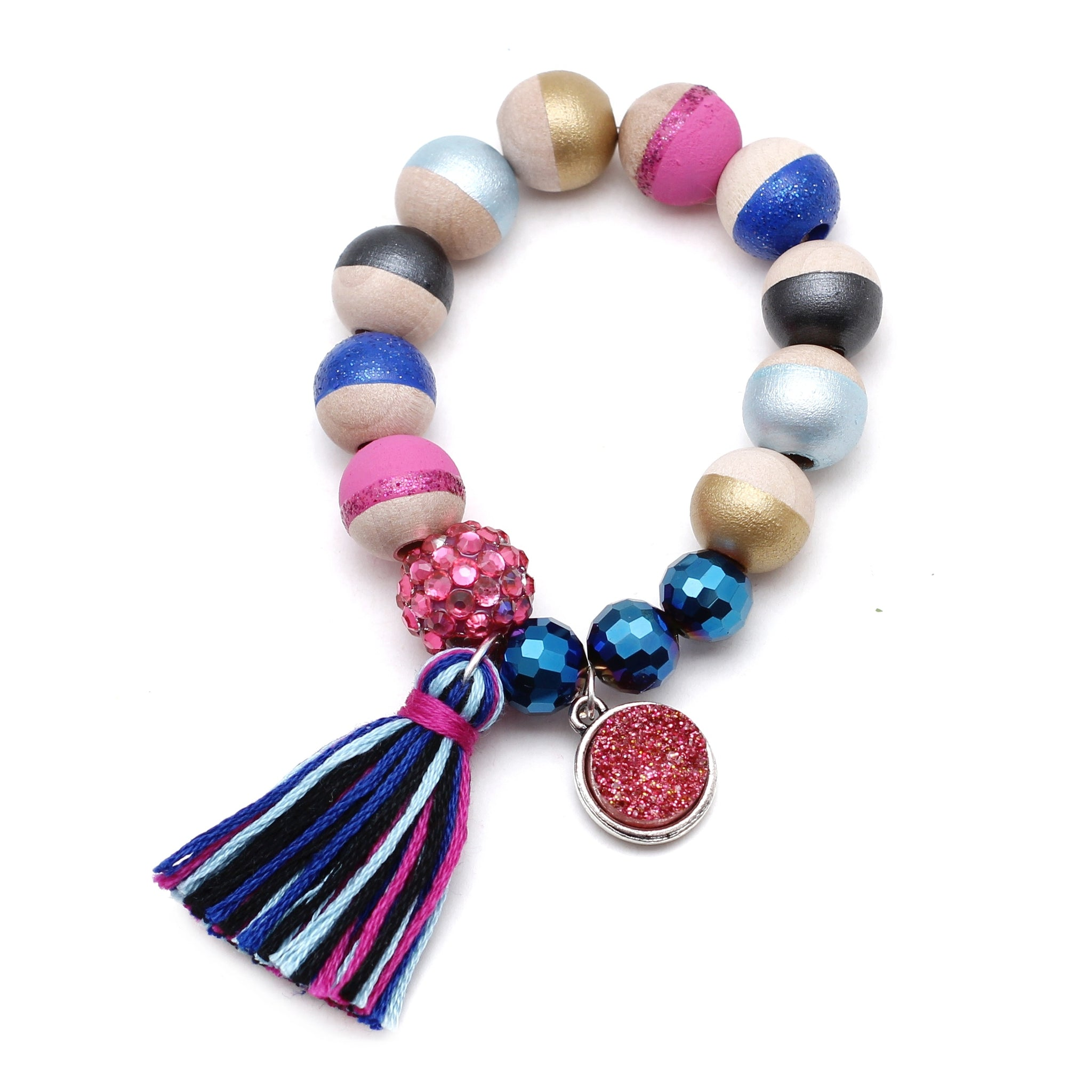 Anna Inspired Charm and Tassel Hand Painted Bracelet